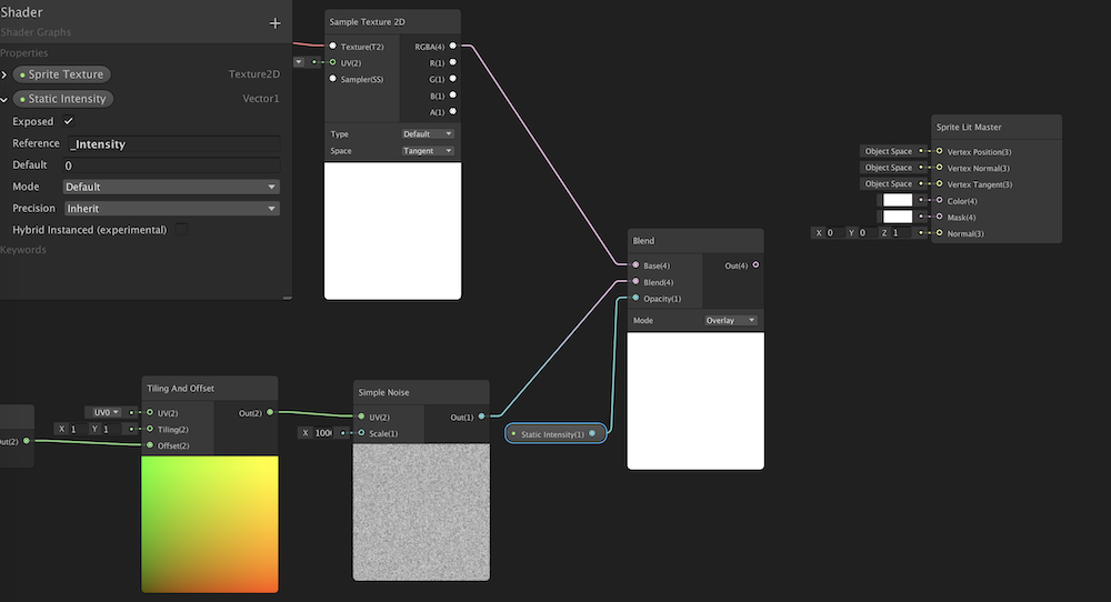 Setting up the Blend node in Shader Graph