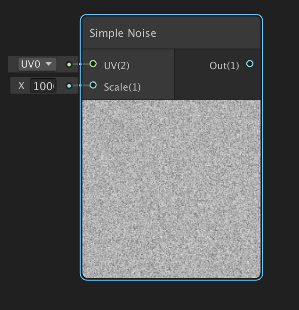 Previewing the Simple Noise node in Unity Shader Graph